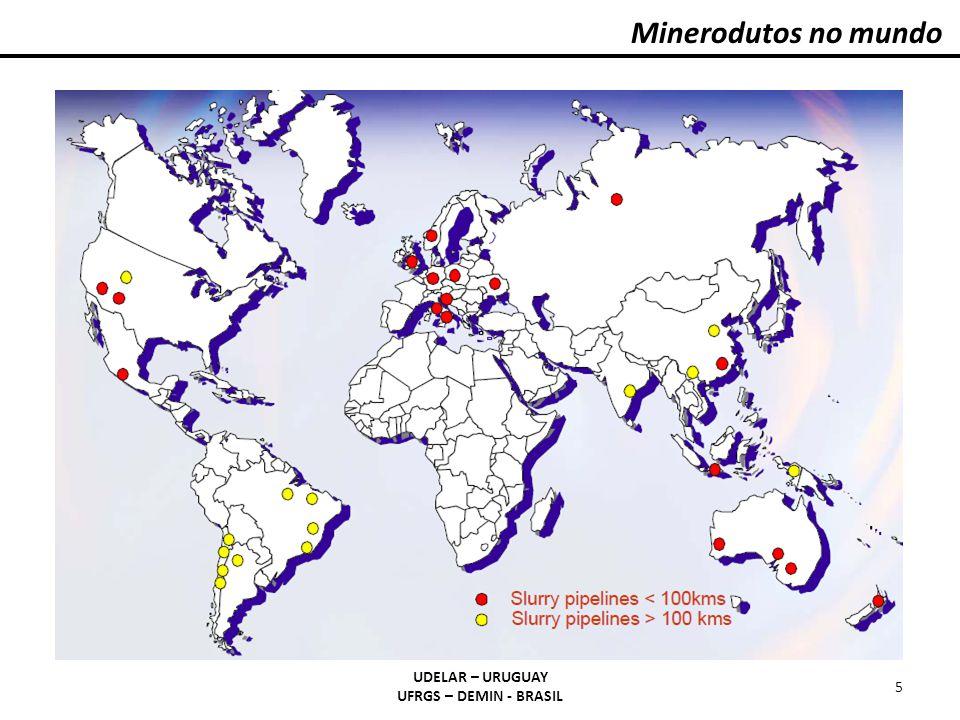 Minerodutos no mundo UDELAR – URUGUAY UFRGS – DEMIN - BRASIL 6 Da Hong Shan, minério de ferro, China, 171 km Jianshan, minério de ferro, China, 100 km Samarco, minério de ferro, Brasil, 396 km Hy-Grade Pellets, India, 268 km Paragominas, bauxita, Brasil, 244 km Simplot, fosfato, USA, 100 km New Zealand Steel, concentrado de areias de ferro, New Zealand, 18 km Los Pelambres, concentrado de cobre, Chile, 120 km Minera Alumbrera, concentrado de cobre, Argentina, 310 km Minera Dona Inés Collahuasi, concentrado de cobre, Chile, 203 km Freeport, Grasberg Mine, concentrado de cobre, Irian Jaya/Indonesia, 120 km Batu Hijau, concentrado de cobre, Indonesia, 18 km No Brasil: a Trikem, sal-gema em AL e BA; a Cadam, caulim no AM; a Pará Pigmentos, caulim, no PA; a Fosfértil, concentrado fosfático, em MG.