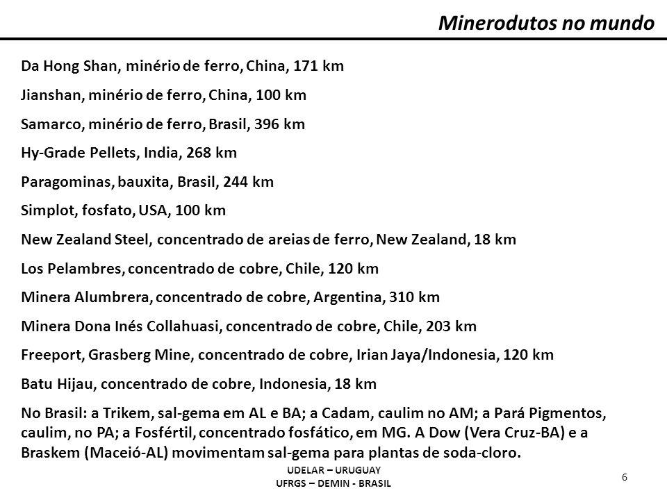 Minerodutos no mundo UDELAR – URUGUAY UFRGS – DEMIN - BRASIL 6 Da Hong Shan, minério de ferro, China, 171 km Jianshan, minério de ferro, China, 100 km