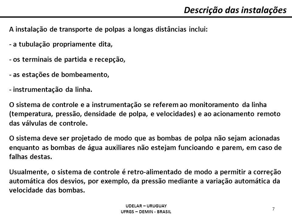 Descrição das instalações UDELAR – URUGUAY UFRGS – DEMIN - BRASIL 7 A instalação de transporte de polpas a longas distâncias inclui: - a tubulação pro
