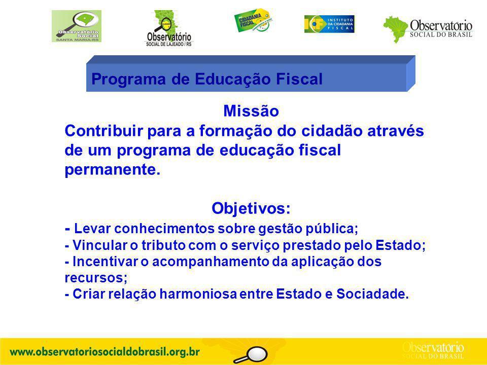 Programa de Educação Fiscal Missão Contribuir para a formação do cidadão através de um programa de educação fiscal permanente. Objetivos: - Levar conh