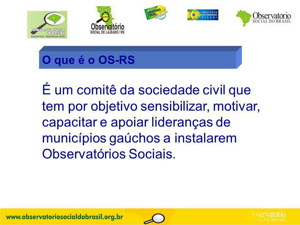 O que é o OS-RS É um comitê da sociedade civil que tem por objetivo sensibilizar, motivar, capacitar e apoiar lideranças de municípios gaúchos a instalarem Observatórios Sociais.