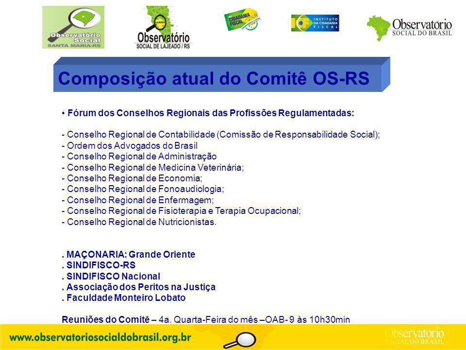 Composição atual do Comitê OS-RS Fórum dos Conselhos Regionais das Profissões Regulamentadas: - Conselho Regional de Contabilidade (Comissão de Respon