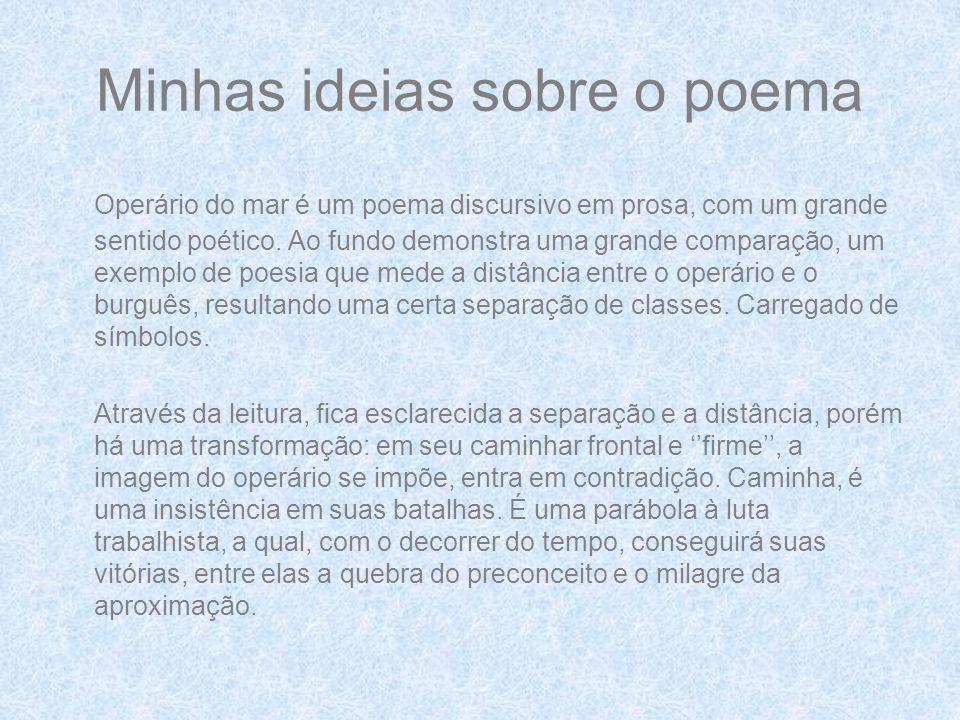 Minhas ideias sobre o poema Operário do mar é um poema discursivo em prosa, com um grande sentido poético.