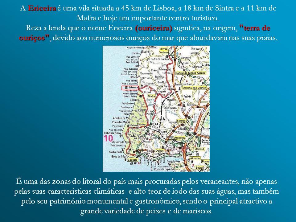 Ericeira (ouriceira) terra de ouriços , A Ericeira é uma vila situada a 45 km de Lisboa, a 18 km de Sintra e a 11 km de Mafra e hoje um importante centro turístico.
