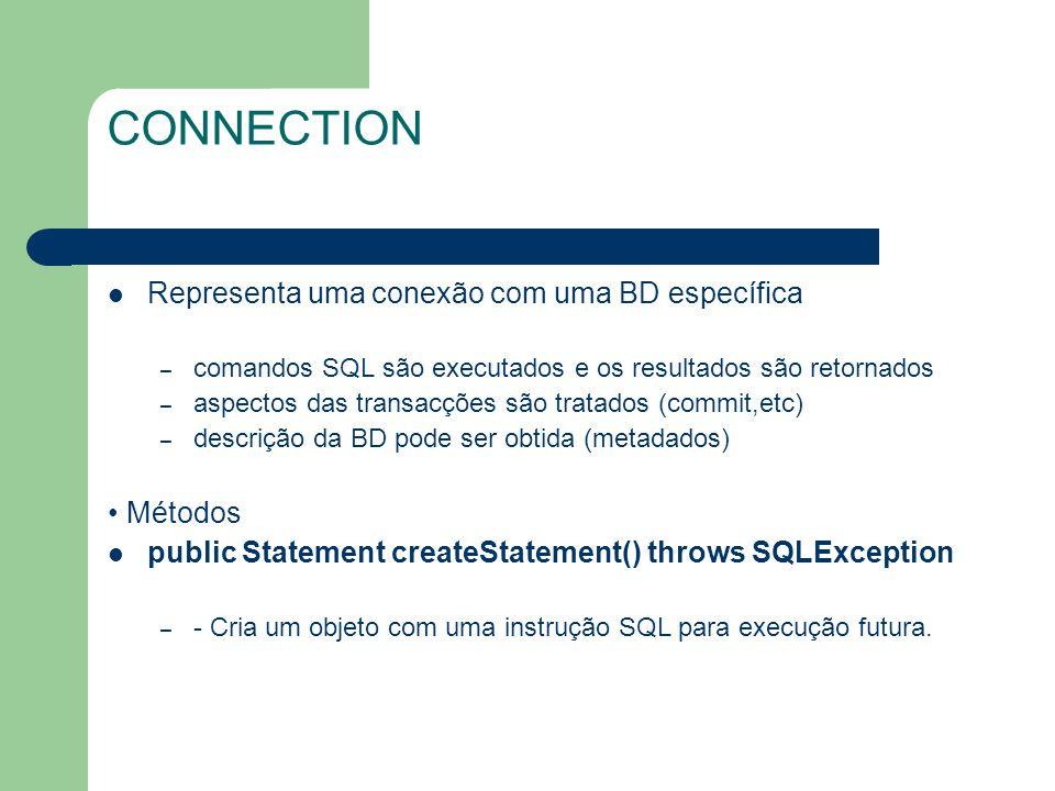 CONNECTION Representa uma conexão com uma BD específica – comandos SQL são executados e os resultados são retornados – aspectos das transacções são tr