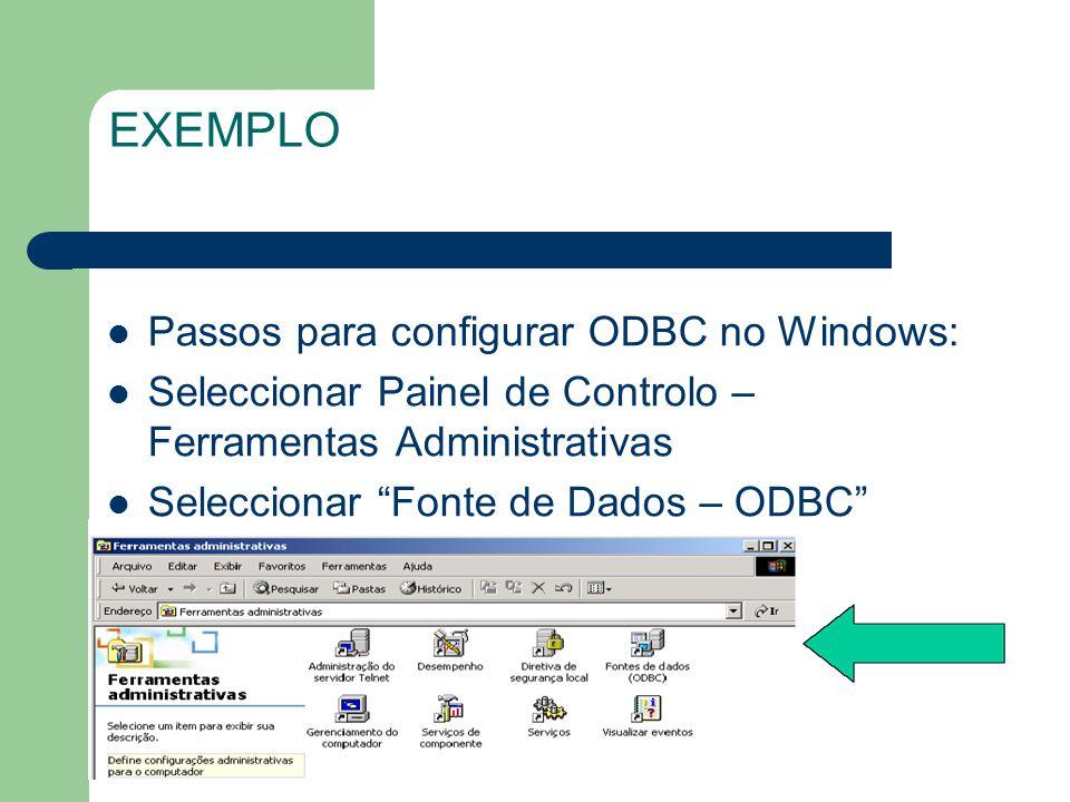 Passos para configurar ODBC no Windows: Seleccionar Painel de Controlo – Ferramentas Administrativas Seleccionar Fonte de Dados – ODBC