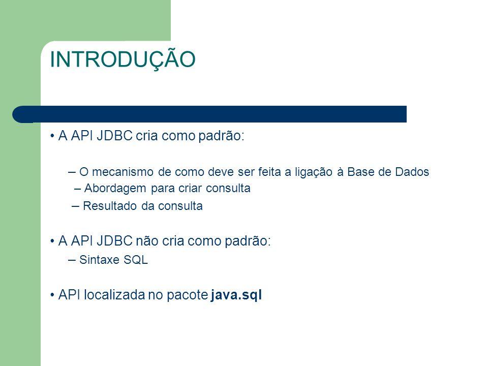 INTRODUÇÃO A API JDBC cria como padrão: – O mecanismo de como deve ser feita a ligação à Base de Dados – Abordagem para criar consulta – Resultado da