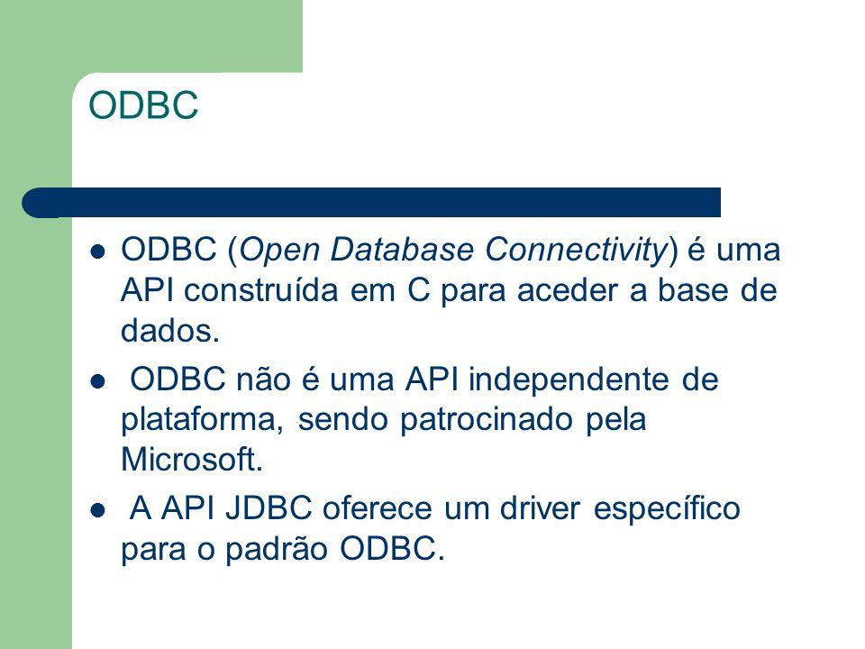 ODBC ODBC (Open Database Connectivity) é uma API construída em C para aceder a base de dados. ODBC não é uma API independente de plataforma, sendo pat