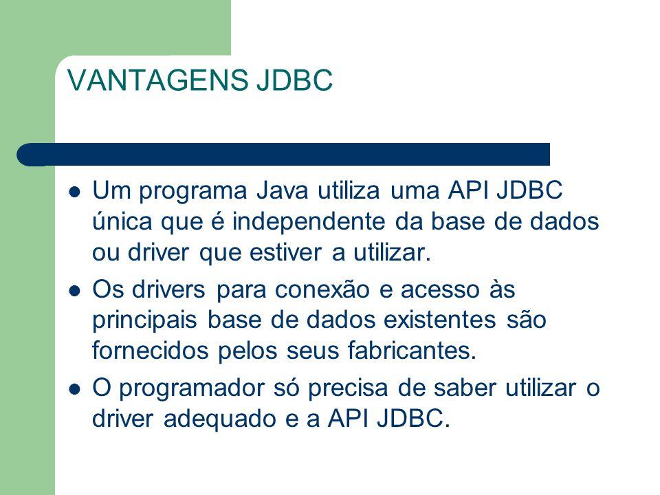 VANTAGENS JDBC Um programa Java utiliza uma API JDBC única que é independente da base de dados ou driver que estiver a utilizar. Os drivers para conex