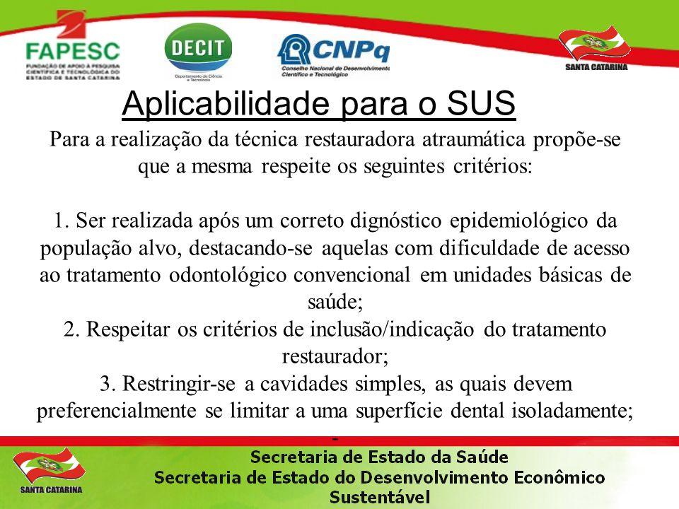 Aplicabilidade para o SUS Para a realização da técnica restauradora atraumática propõe-se que a mesma respeite os seguintes critérios: 1.