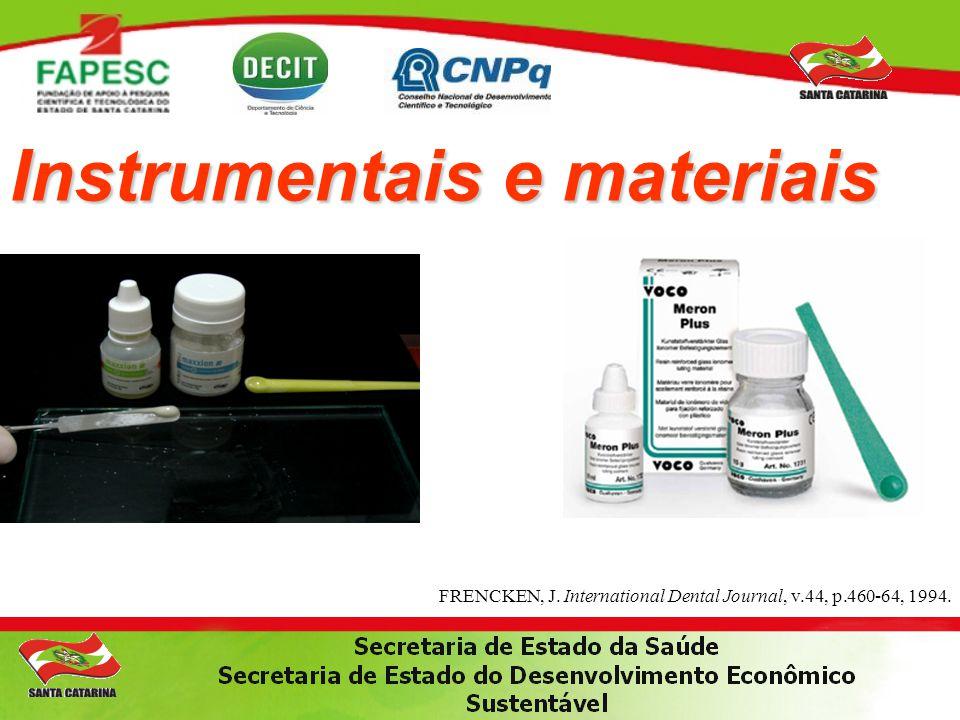 Instrumentais e materiais FRENCKEN, J. International Dental Journal, v.44, p.460-64, 1994.