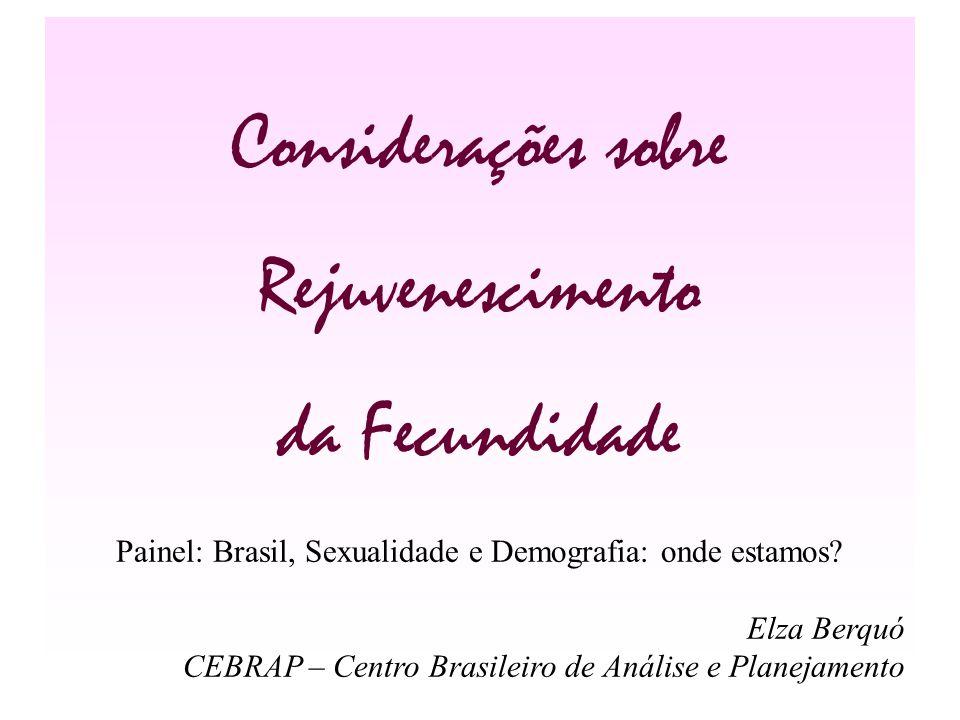 Considerações sobre Rejuvenescimento da Fecundidade Painel: Brasil, Sexualidade e Demografia: onde estamos? Elza Berquó CEBRAP – Centro Brasileiro de