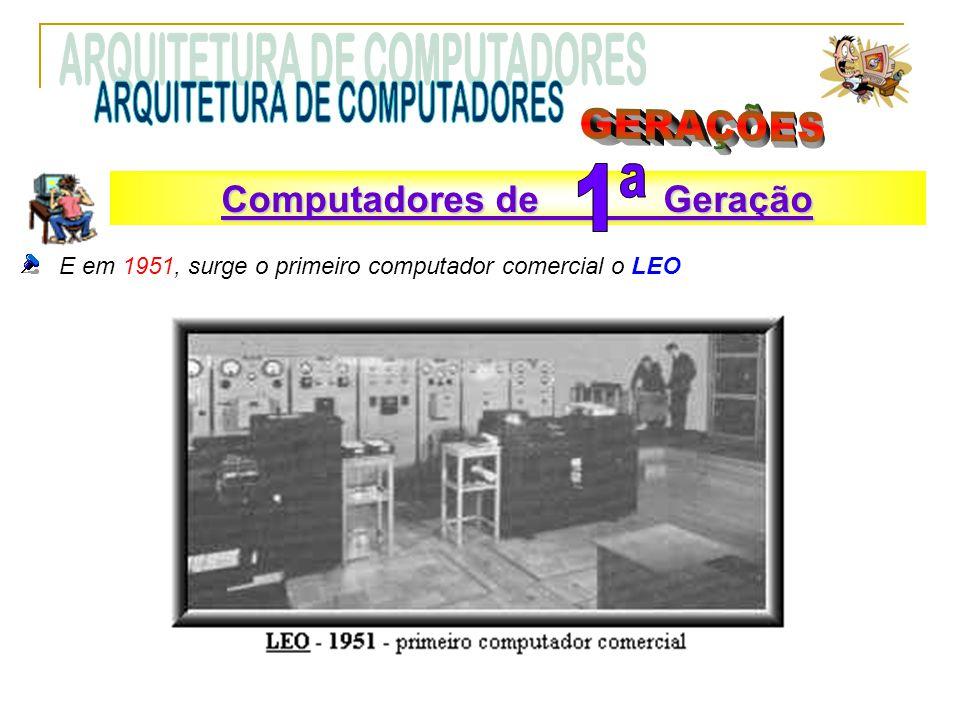 E em 1951, surge o primeiro computador comercial o LEO Computadores de Geração