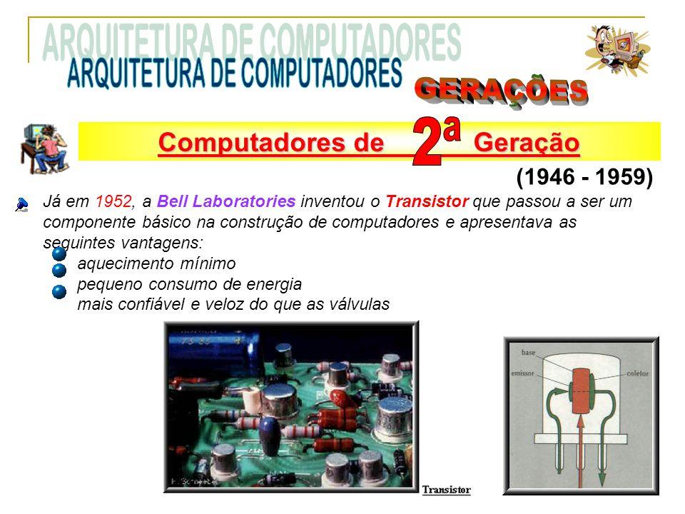 Já em 1952, a Bell Laboratories inventou o Transistor que passou a ser um componente básico na construção de computadores e apresentava as seguintes v