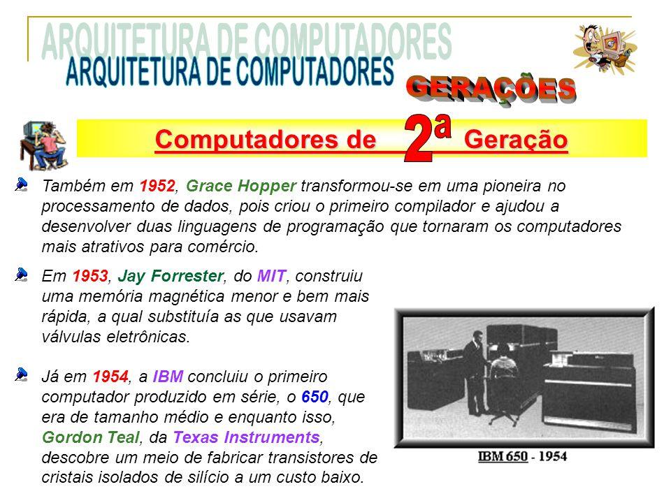 Também em 1952, Grace Hopper transformou-se em uma pioneira no processamento de dados, pois criou o primeiro compilador e ajudou a desenvolver duas linguagens de programação que tornaram os computadores mais atrativos para comércio.