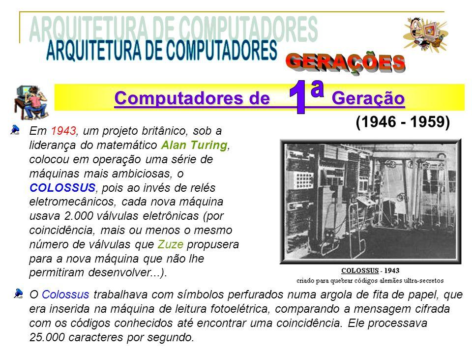 Em 1943, um projeto britânico, sob a liderança do matemático Alan Turing, colocou em operação uma série de máquinas mais ambiciosas, o COLOSSUS, pois