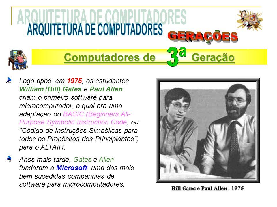 Logo após, em 1975, os estudantes William (Bill) Gates e Paul Allen criam o primeiro software para microcomputador, o qual era uma adaptação do BASIC (Beginners All- Purpose Symbolic Instruction Code, ou Código de Instruções Simbólicas para todos os Propósitos dos Principiantes ) para o ALTAIR.
