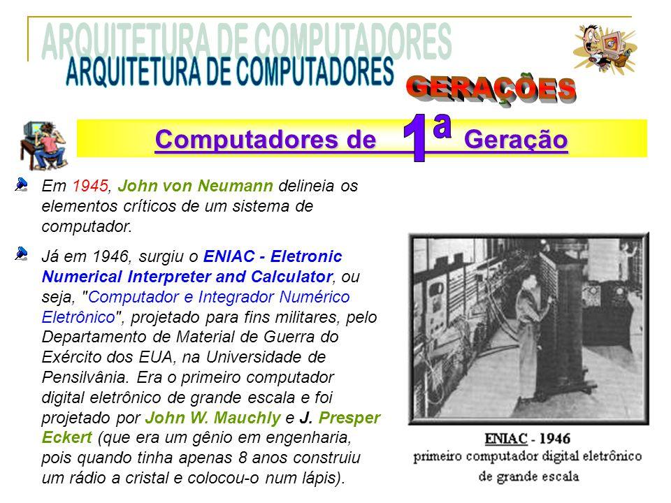 Em 1945, John von Neumann delineia os elementos críticos de um sistema de computador. Já em 1946, surgiu o ENIAC - Eletronic Numerical Interpreter and