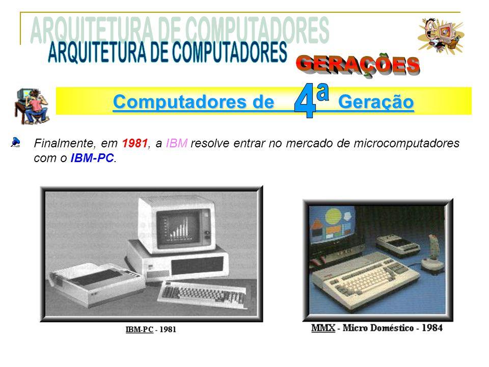 Finalmente, em 1981, a IBM resolve entrar no mercado de microcomputadores com o IBM-PC. Computadores de Geração