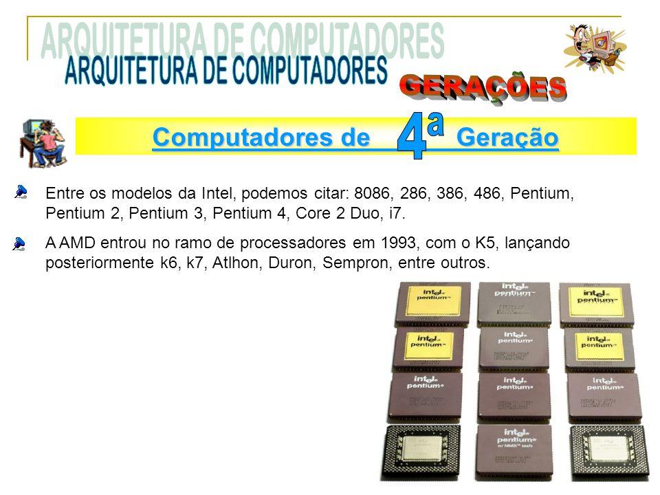 Entre os modelos da Intel, podemos citar: 8086, 286, 386, 486, Pentium, Pentium 2, Pentium 3, Pentium 4, Core 2 Duo, i7. A AMD entrou no ramo de proce
