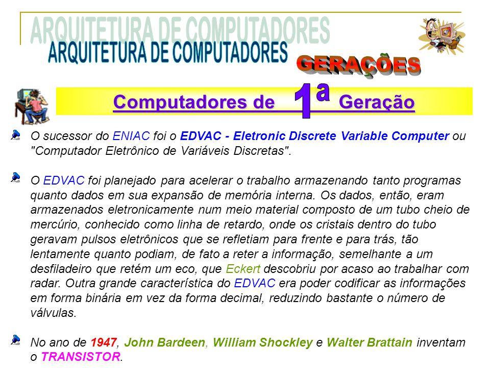 O sucessor do ENIAC foi o EDVAC - Eletronic Discrete Variable Computer ou Computador Eletrônico de Variáveis Discretas .