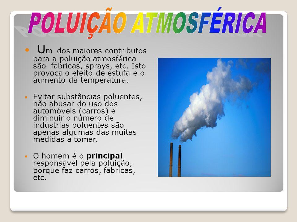 U m dos maiores contributos para a poluição atmosférica são fábricas, sprays, etc. Isto provoca o efeito de estufa e o aumento da temperatura. Evitar