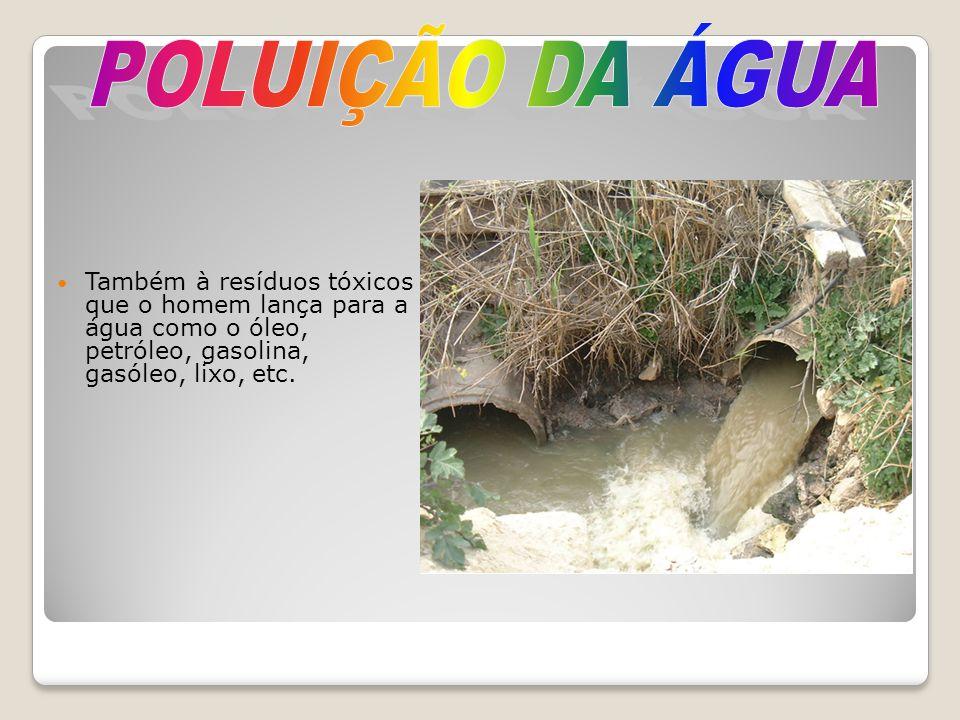 Também à resíduos tóxicos que o homem lança para a água como o óleo, petróleo, gasolina, gasóleo, lixo, etc.