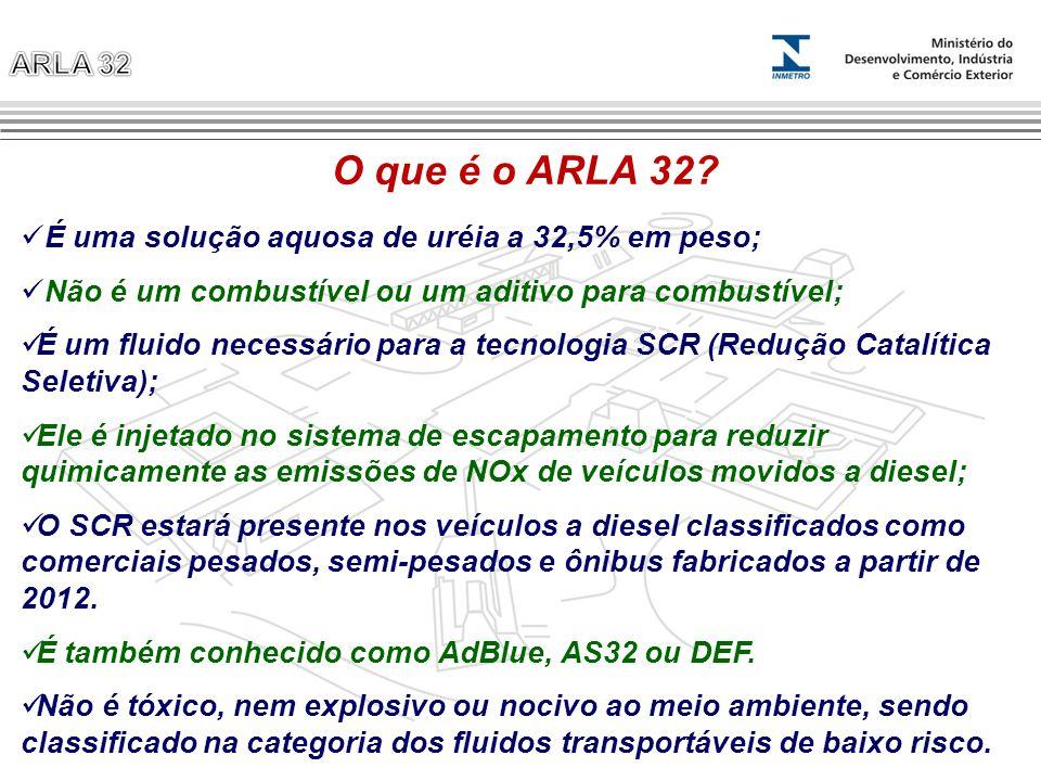 O que é o ARLA 32? É uma solução aquosa de uréia a 32,5% em peso; Não é um combustível ou um aditivo para combustível; É um fluido necessário para a t