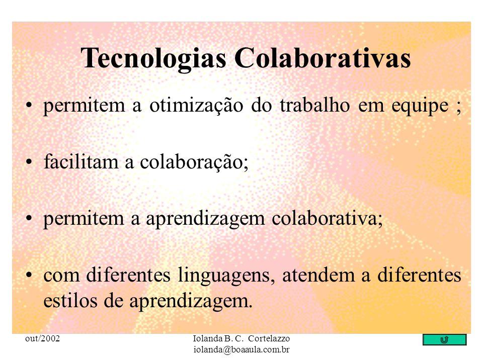 out/2002Iolanda B. C. Cortelazzo iolanda@boaaula.com.br Incorporar de forma inteligente as tecnologias interativas significa: adotar uma postura posit