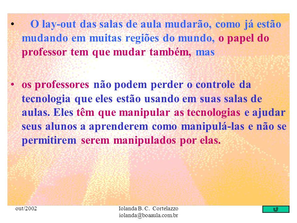 out/2002Iolanda B. C. Cortelazzo iolanda@boaaula.com.br Trabalhar com as NTCIs de forma interativa nas aulas e cursos escolares requer: a intencionali