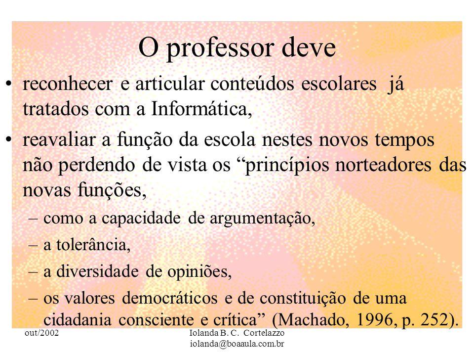 out/2002Iolanda B. C. Cortelazzo iolanda@boaaula.com.br Para que haja educação é preciso muito mais do que uma massa formidável de informações imediat