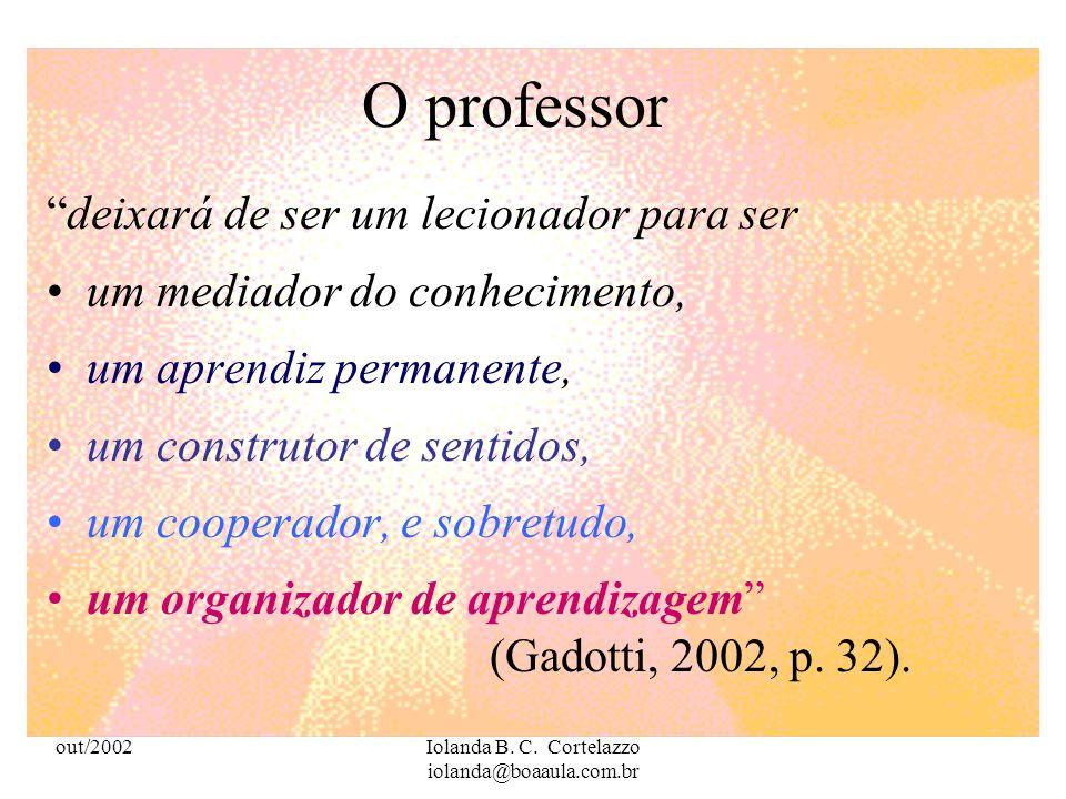 out/2002Iolanda B. C. Cortelazzo iolanda@boaaula.com.br O professor deve reconhecer e articular conteúdos escolares já tratados com a Informática, rea
