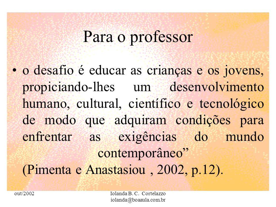 out/2002Iolanda B. C. Cortelazzo iolanda@boaaula.com.br O professor deixará de ser um lecionador para ser um mediador do conhecimento, um aprendiz per