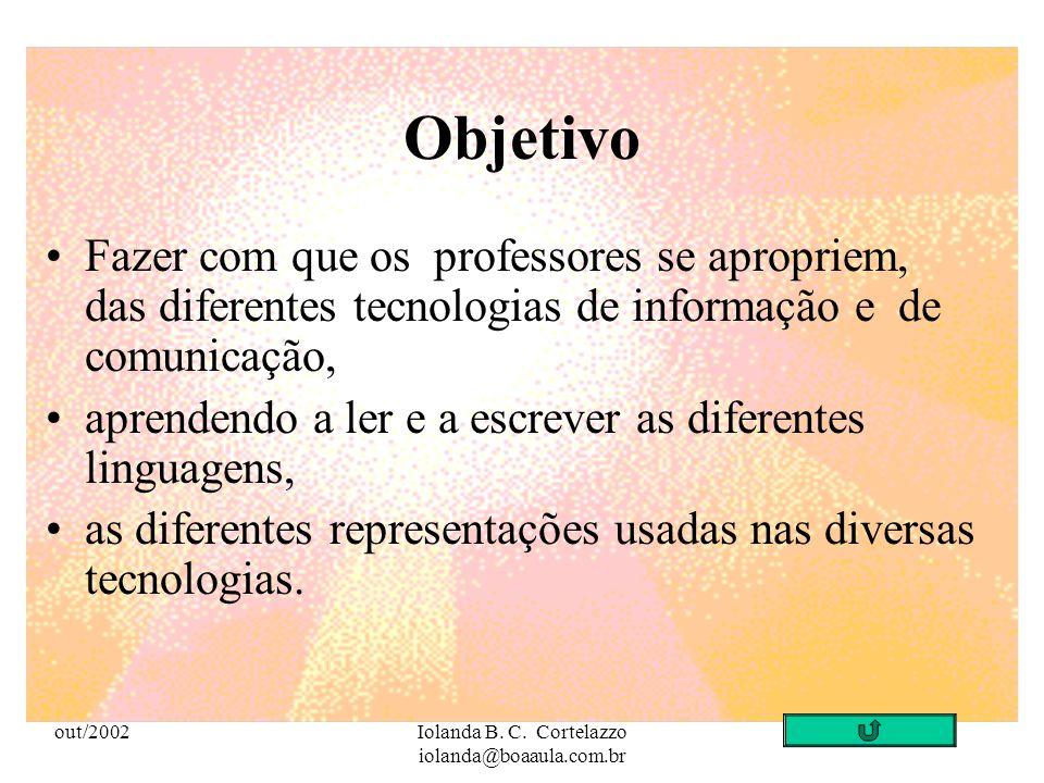 out/2002Iolanda B. C. Cortelazzo iolanda@boaaula.com.br Pedagogia e Novas Tecnologias: Tecnologias Interativas e Colaborativas Profa. Dra. Iolanda B.