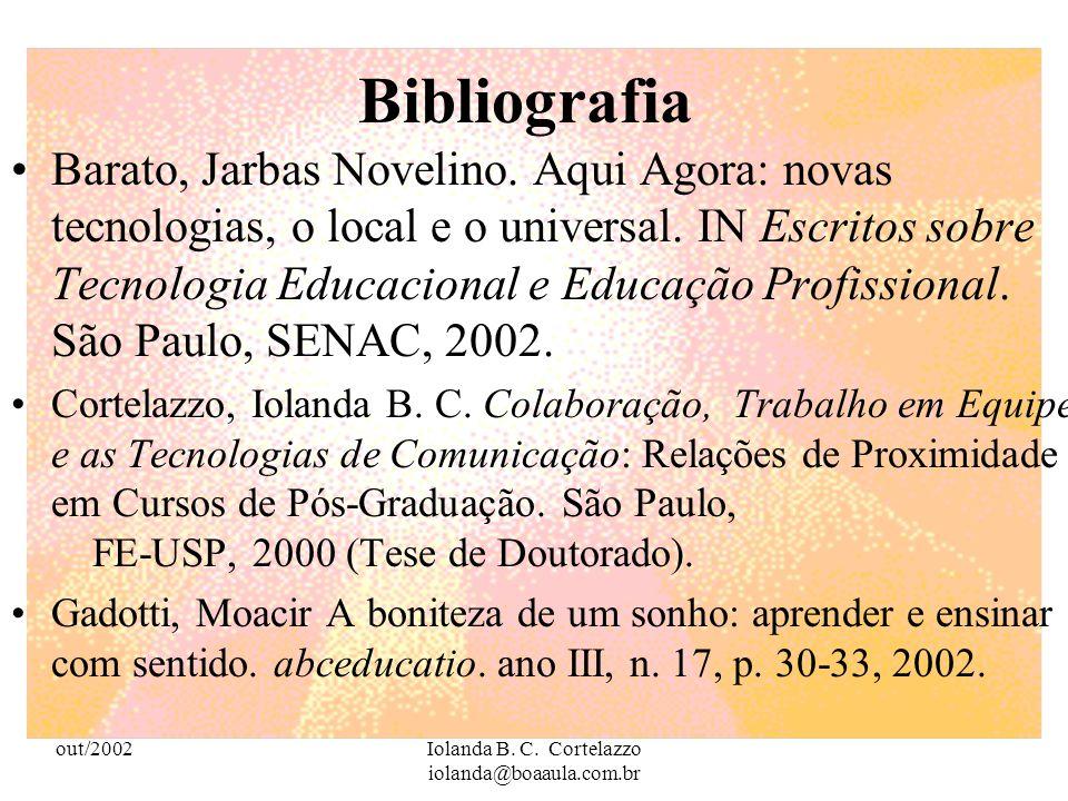 out/2002Iolanda B. C. Cortelazzo iolanda@boaaula.com.br A Pedagogia é responsável pela formação dos professores que precisam estar profissionalmente q