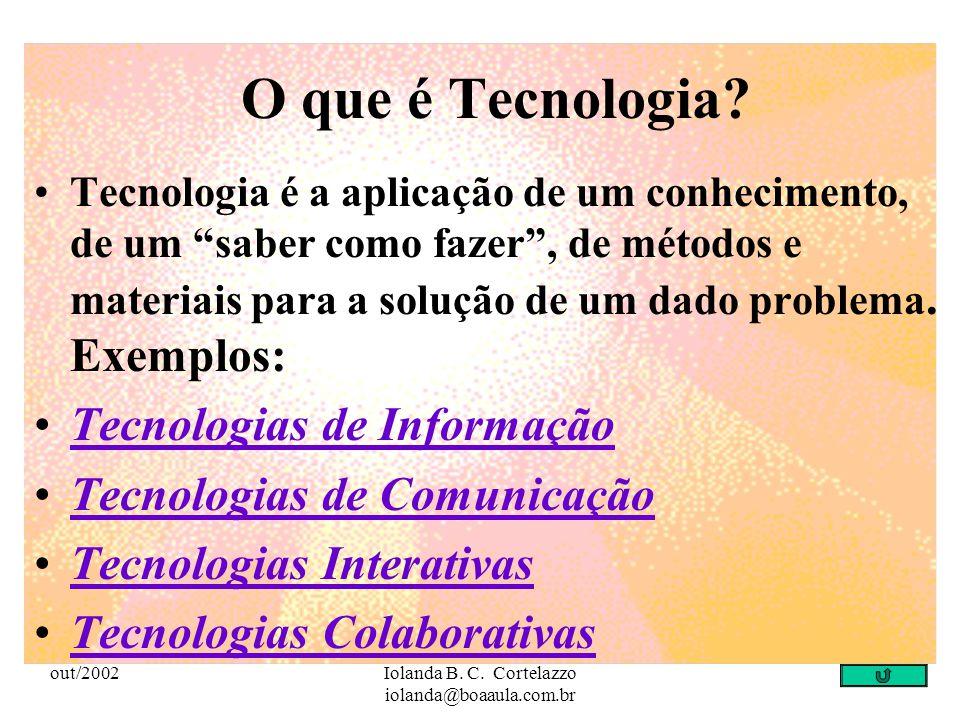 out/2002Iolanda B. C. Cortelazzo iolanda@boaaula.com.br Objetivo Fazer com que os professores se apropriem, das diferentes tecnologias de informação e