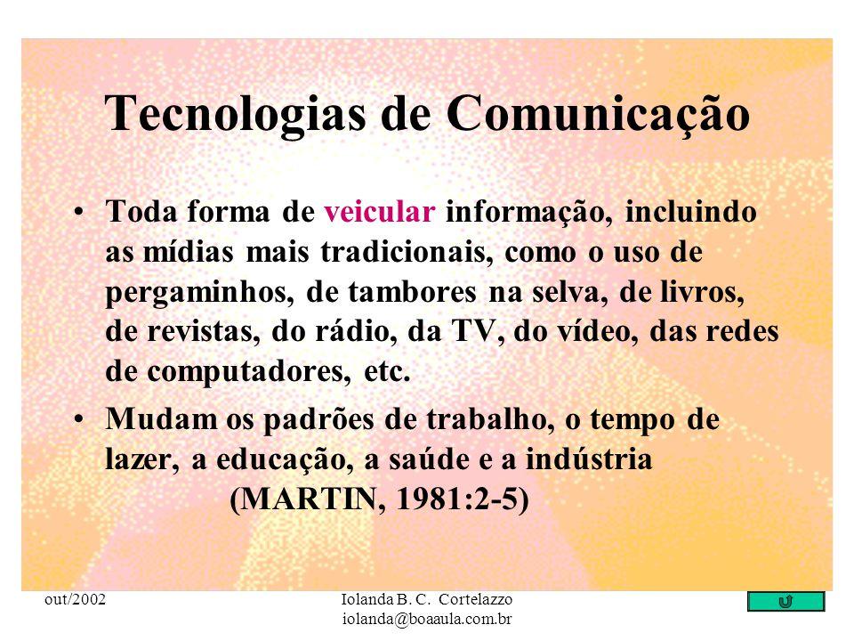 out/2002Iolanda B. C. Cortelazzo iolanda@boaaula.com.br Tecnologias de Informação Toda forma de gerar, armazenar, veicular, processar e reproduzir a i