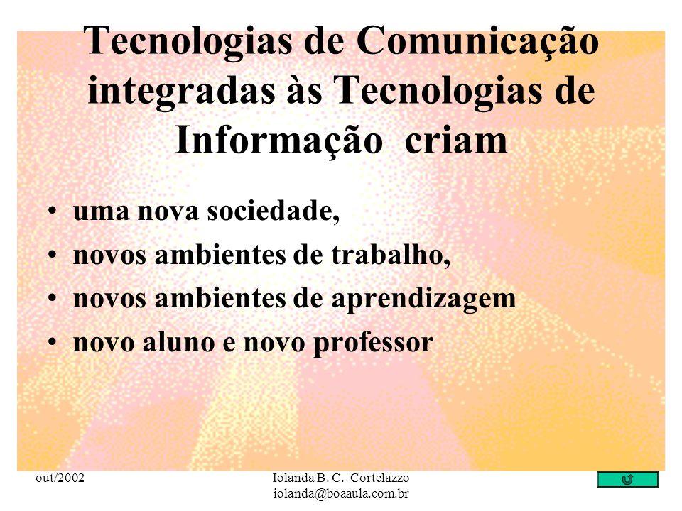 out/2002Iolanda B. C. Cortelazzo iolanda@boaaula.com.br Tecnologias de Comunicação Toda forma de veicular informação, incluindo as mídias mais tradici