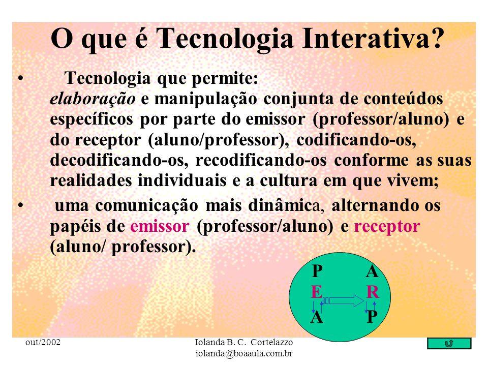 out/2002Iolanda B. C. Cortelazzo iolanda@boaaula.com.br Tecnologias de Comunicação integradas às Tecnologias de Informação criam uma nova sociedade, n