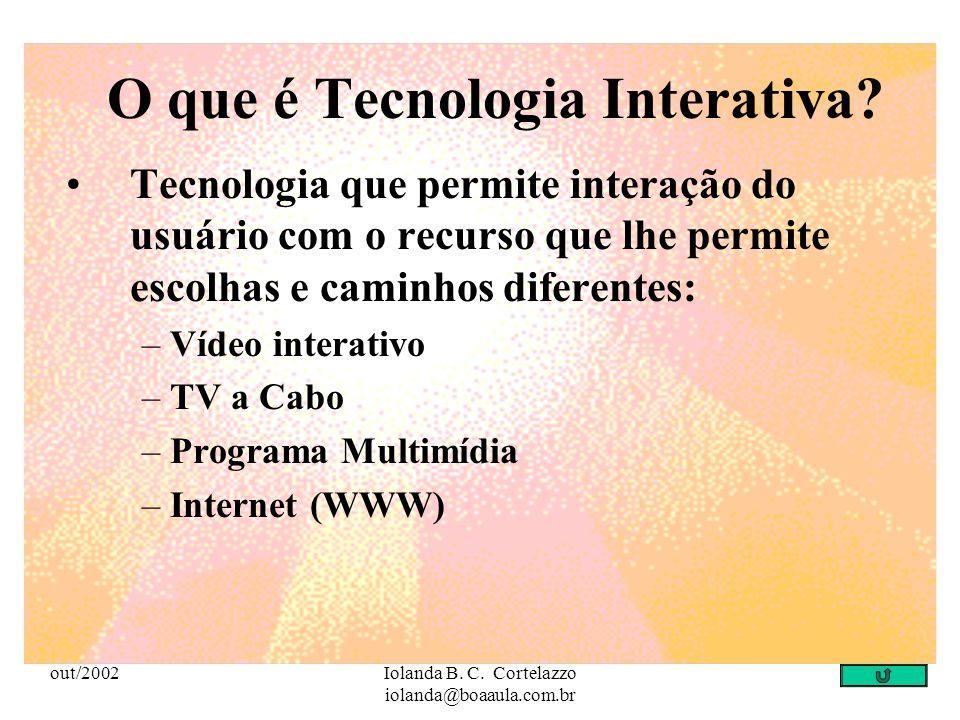 out/2002Iolanda B. C. Cortelazzo iolanda@boaaula.com.br Tecnologia que permite: elaboração e manipulação conjunta de conteúdos específicos por parte d
