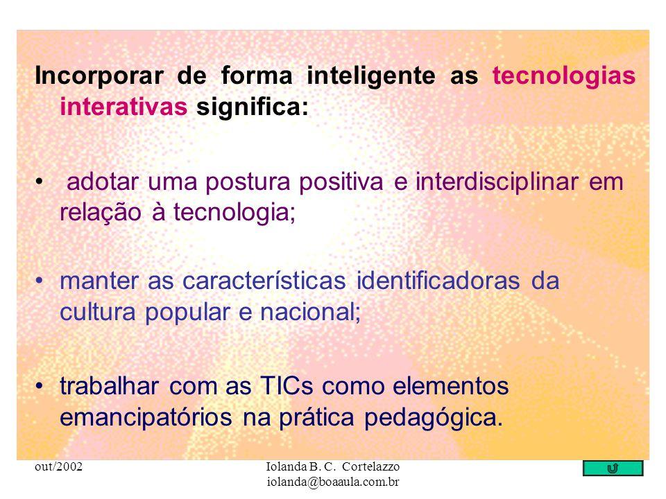 out/2002Iolanda B. C. Cortelazzo iolanda@boaaula.com.br Tecnologia que permite interação do usuário com o recurso que lhe permite escolhas e caminhos