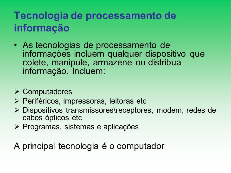 Tecnologia de processamento de informação As tecnologias de processamento de informações incluem qualquer dispositivo que colete, manipule, armazene o
