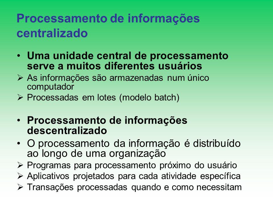 Processamento de informações centralizado Uma unidade central de processamento serve a muitos diferentes usuários As informações são armazenadas num ú