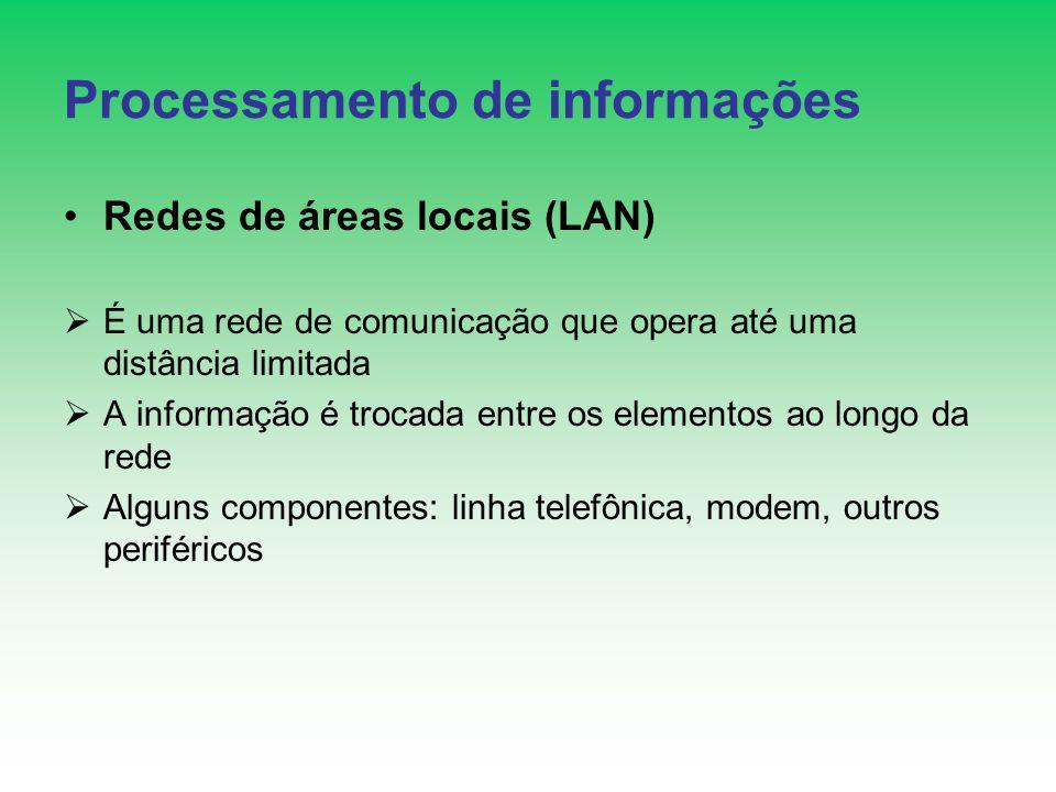 Processamento de informações Redes de áreas locais (LAN) É uma rede de comunicação que opera até uma distância limitada A informação é trocada entre os elementos ao longo da rede Alguns componentes: linha telefônica, modem, outros periféricos