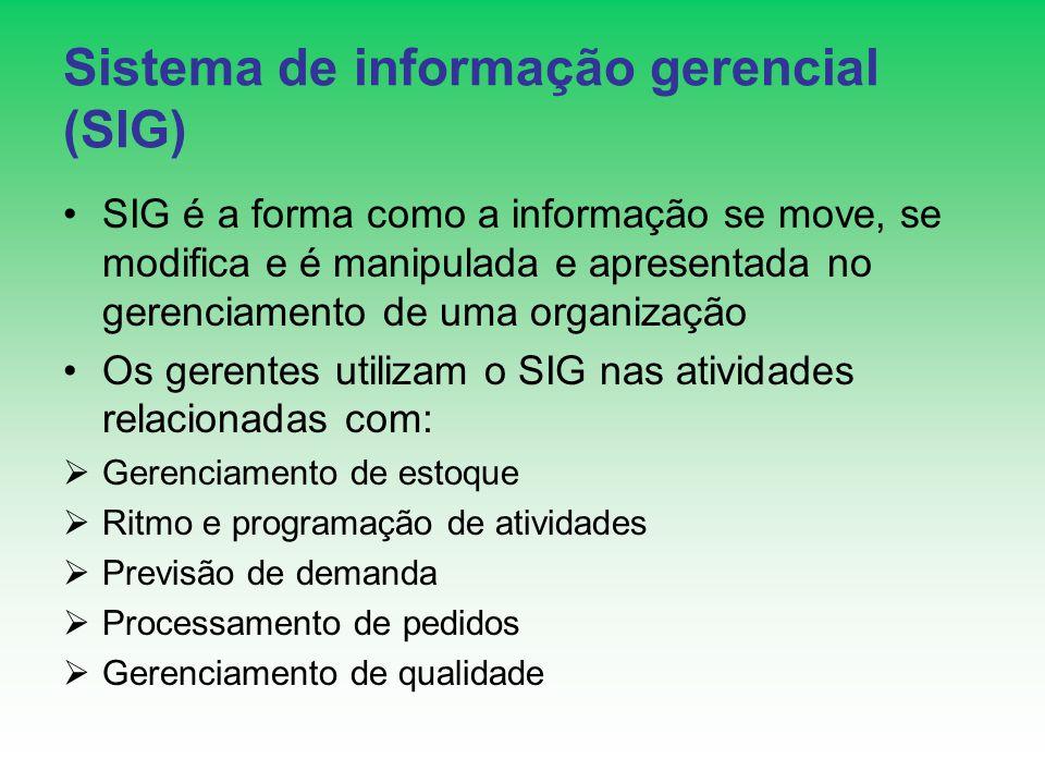 Sistema de informação gerencial (SIG) SIG é a forma como a informação se move, se modifica e é manipulada e apresentada no gerenciamento de uma organi