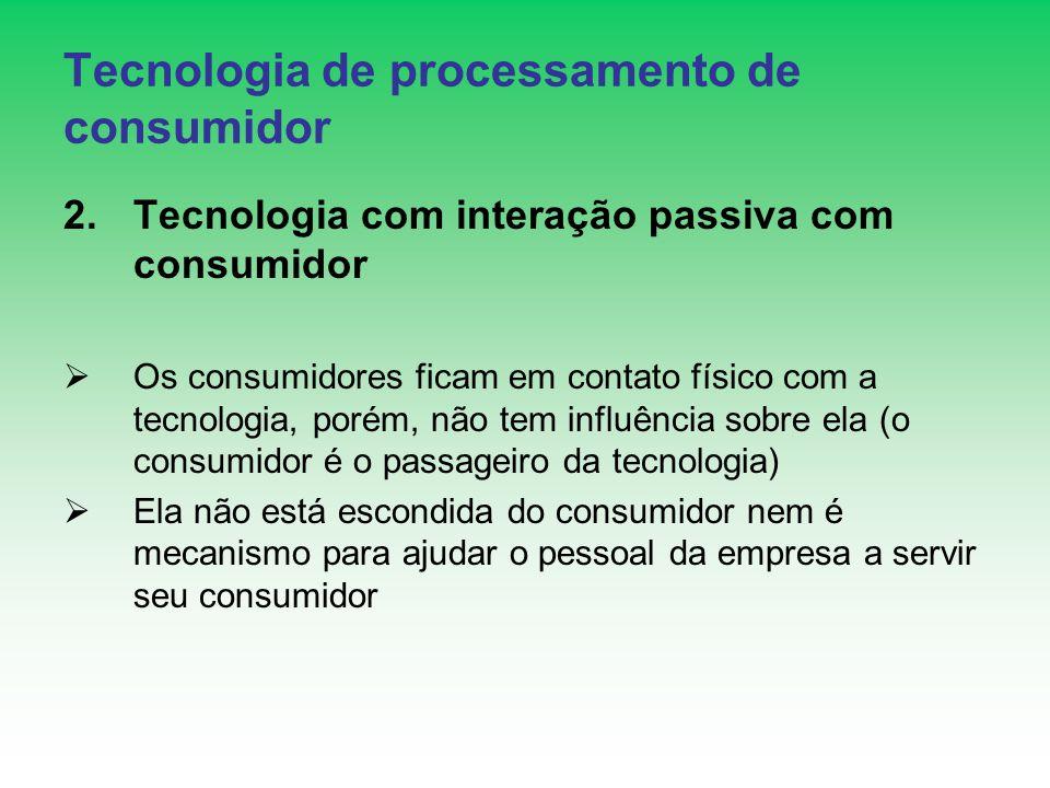 Tecnologia de processamento de consumidor 2.Tecnologia com interação passiva com consumidor Os consumidores ficam em contato físico com a tecnologia,