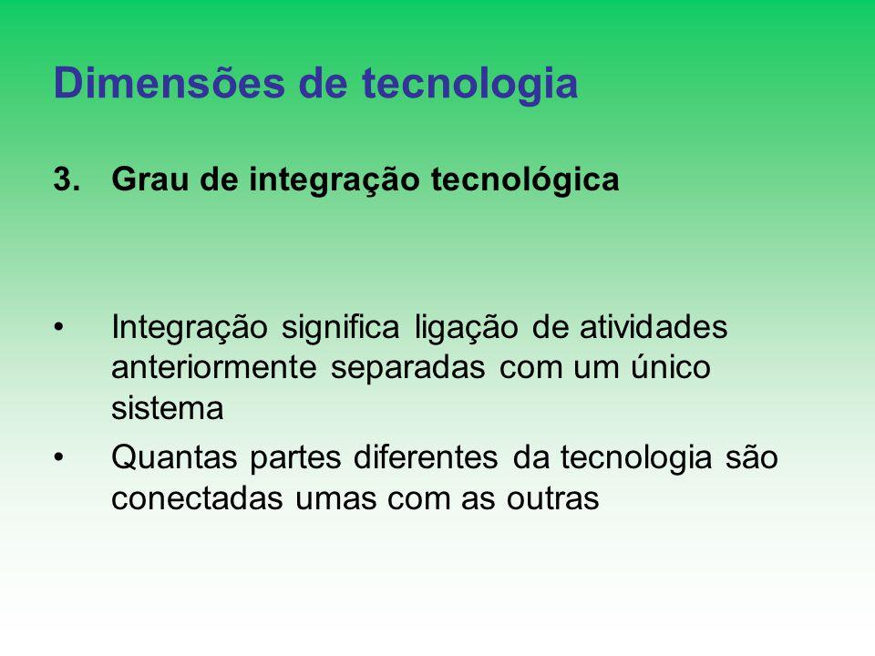 Dimensões de tecnologia 3.Grau de integração tecnológica Integração significa ligação de atividades anteriormente separadas com um único sistema Quantas partes diferentes da tecnologia são conectadas umas com as outras