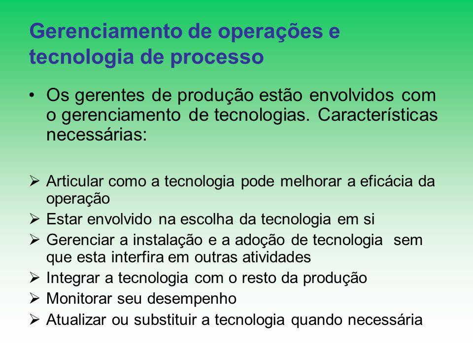 Gerenciamento de operações e tecnologia de processo Os gerentes de produção estão envolvidos com o gerenciamento de tecnologias. Características neces