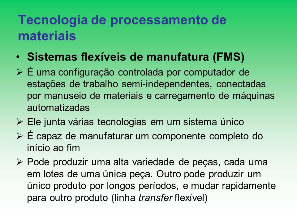 Tecnologia de processamento de materiais Sistemas flexíveis de manufatura (FMS) É uma configuração controlada por computador de estações de trabalho s