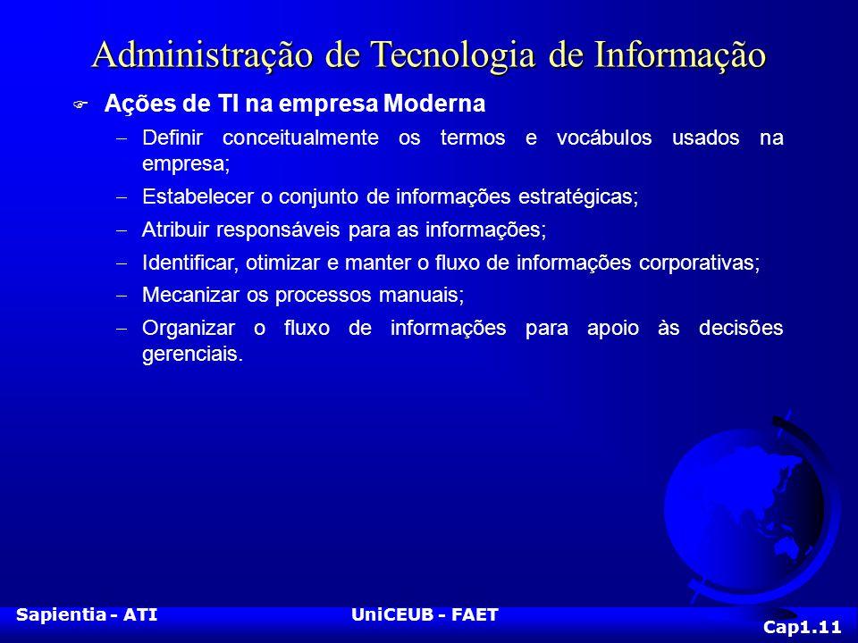 Sapientia - ATIUniCEUB - FAET Administração de Tecnologia de Informação F Ações de TI na empresa Moderna Definir conceitualmente os termos e vocábulos